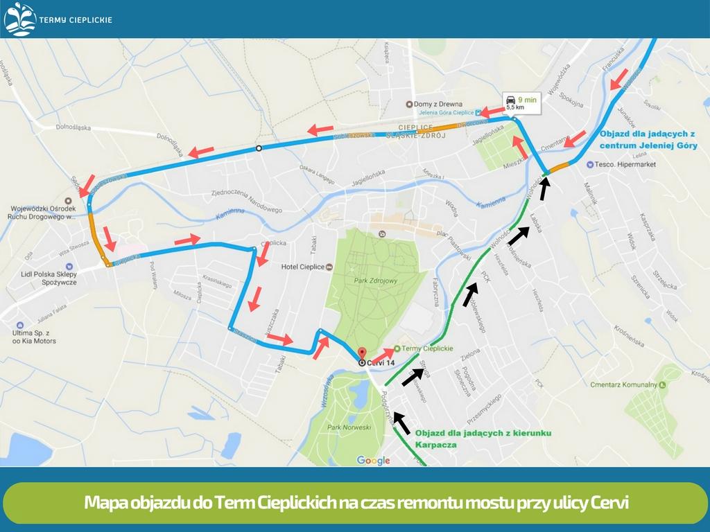 Mapa objazdu na czas remontu mostu przy ul. Cervi 3