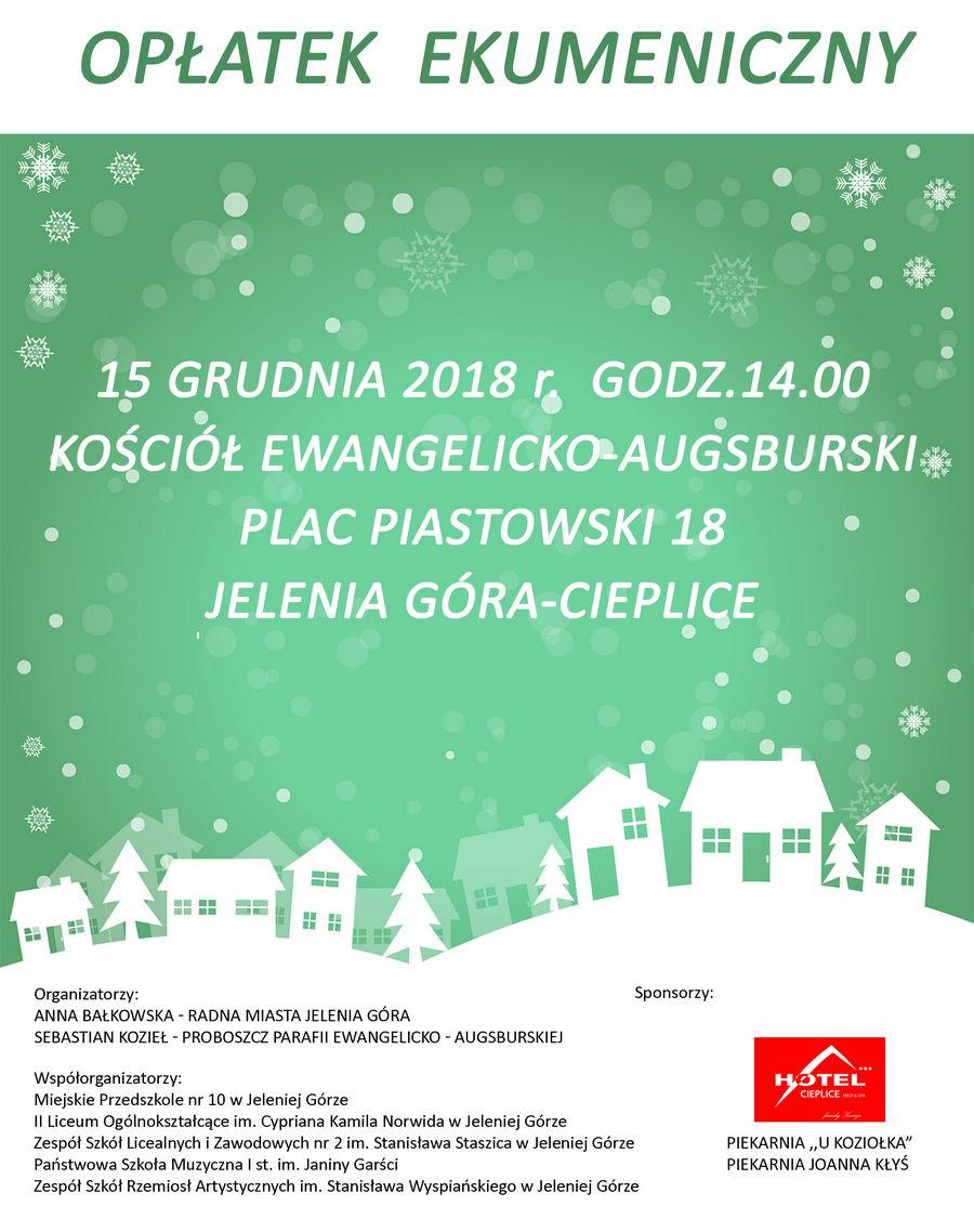Plakat Opłatek Ekumeniczny 2018 rok